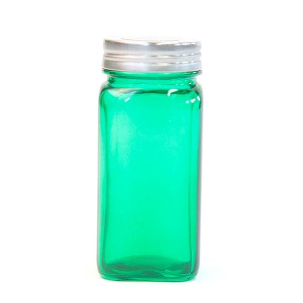 Emerald Green Glass Spice Jar