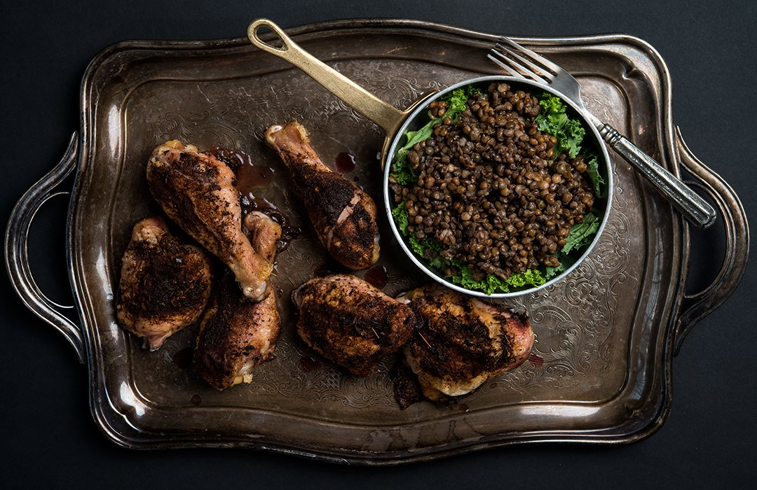 Baked Jerk Chicken and Spied Lentils