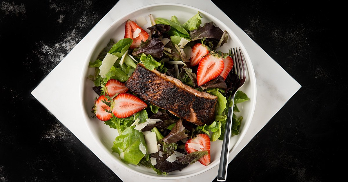 cajun blackened salmon salad