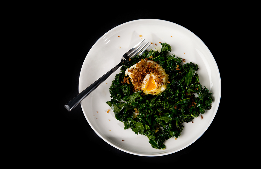 Warm Kale Salad with Crumbled Egg Recipe