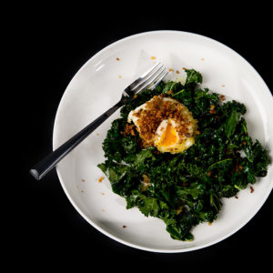 Warm Kale Salad with Crumbled Egg